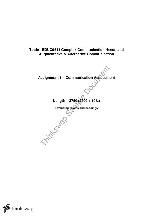 Case Study Assignment 1 Educ9511 Complex