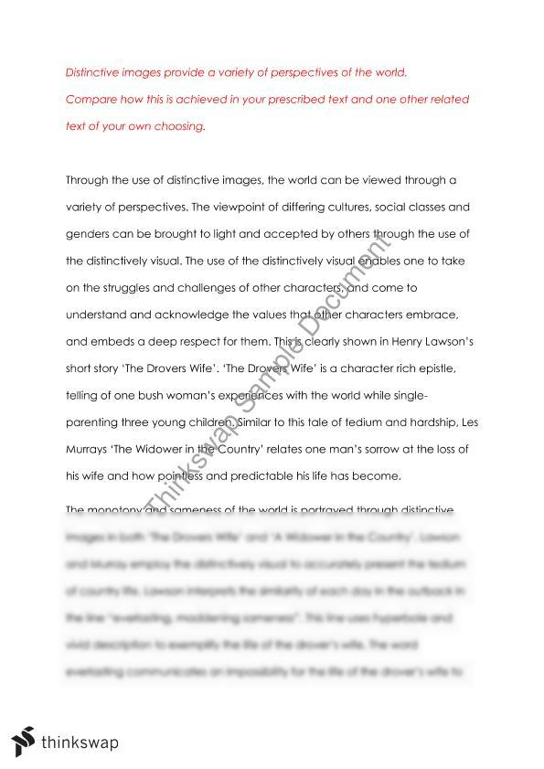 distinctively visual 2 essay The essay on distinctively visual images in the text, the loaded dog through creating relatable, distinctively visual images of mateship and humour to help us understand the need  by allowing the reader to immerse themselves into the stories to understand the true feelings and emotions of the characters.