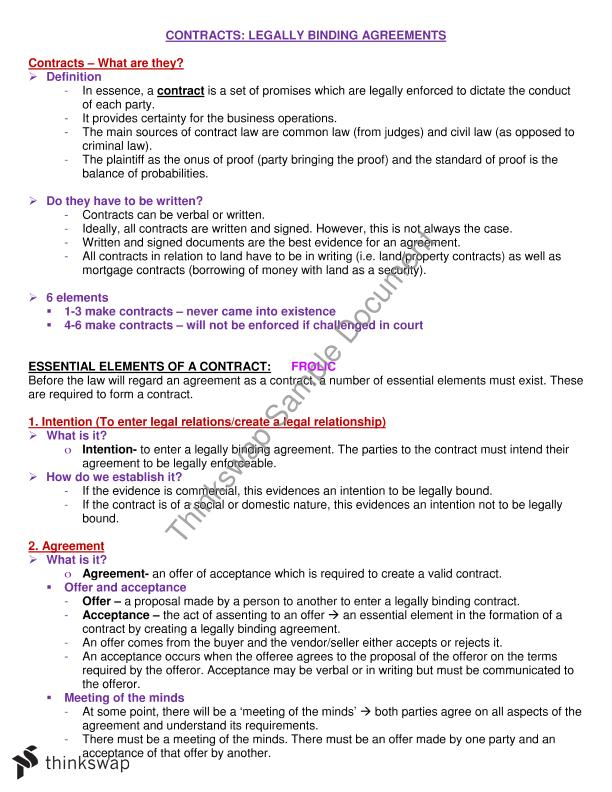 Integrating Business Perspectives Notes On Contracts For Final Exam