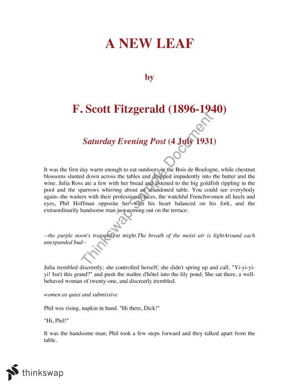 Short Essays For High School Students A New Leaf By F Scott Fitzgerald  Full Story  Analysis Short Essays In English also Essay Writing Paper A New Leaf By F Scott Fitzgerald  Full Story  Analysis  Year   Health Essay Sample