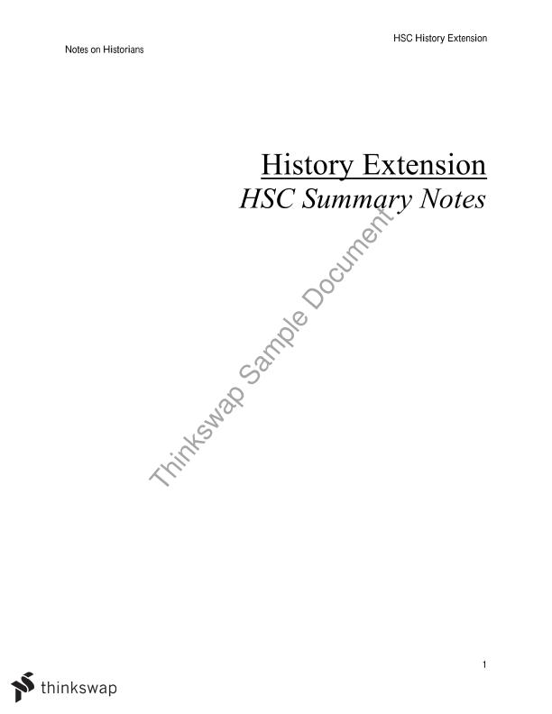 History Extension HSC Notes on Historians