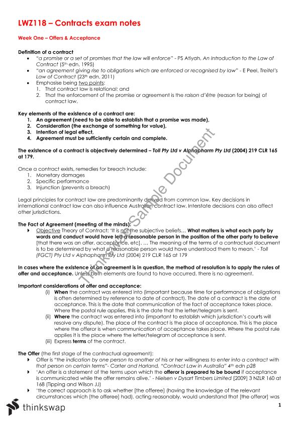 Lwz118 Contracts Exam Notes Lwz118 Contracts Thinkswap