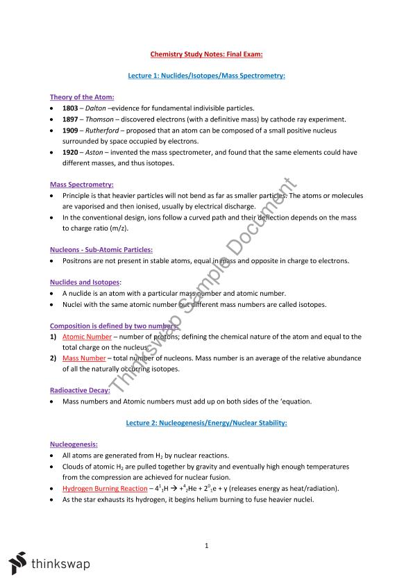 CHEM1101 Study Notes for Final Exam- Very Detailed- Covers all
