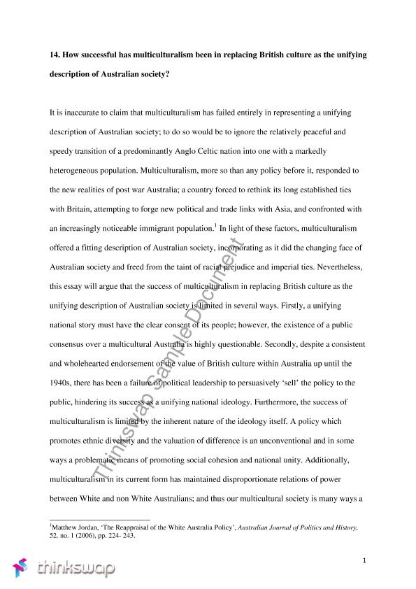 Politics And The English Language Essay Australian Politics Essay Analysing The Effectiveness Of Multiculturalism  In Relplacing British Culture As The Unifying Description Romeo And Juliet English Essay also Business Plan Essay Australian Politics Essay Analysing The Effectiveness Of  Examples Of Thesis Statements For English Essays