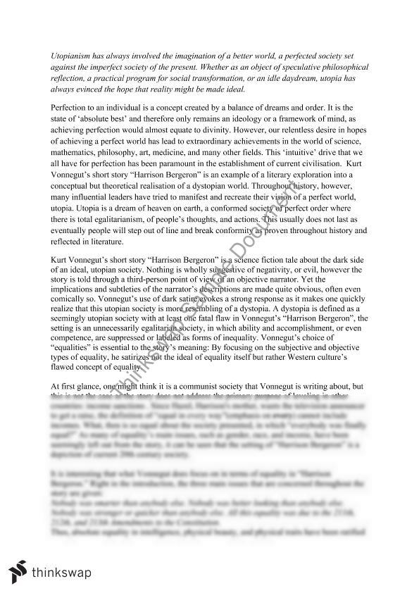 harrison bergeron utopia essay year hsc english  harrison bergeron utopia essay