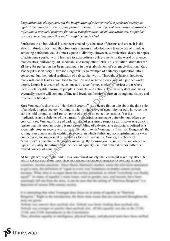 Harrison bergeron utopia essay year 12 hsc english extension