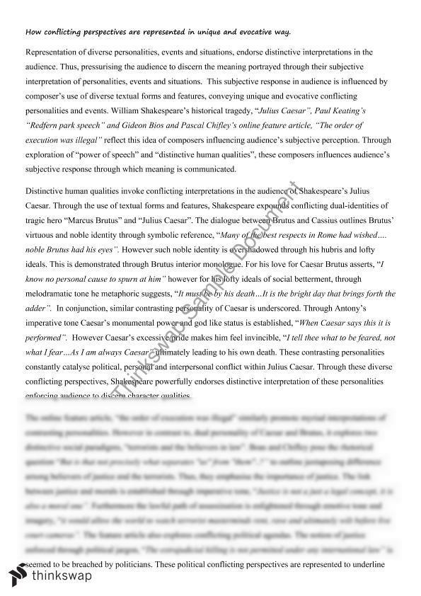 essay on conflicting perspectives julius caesar