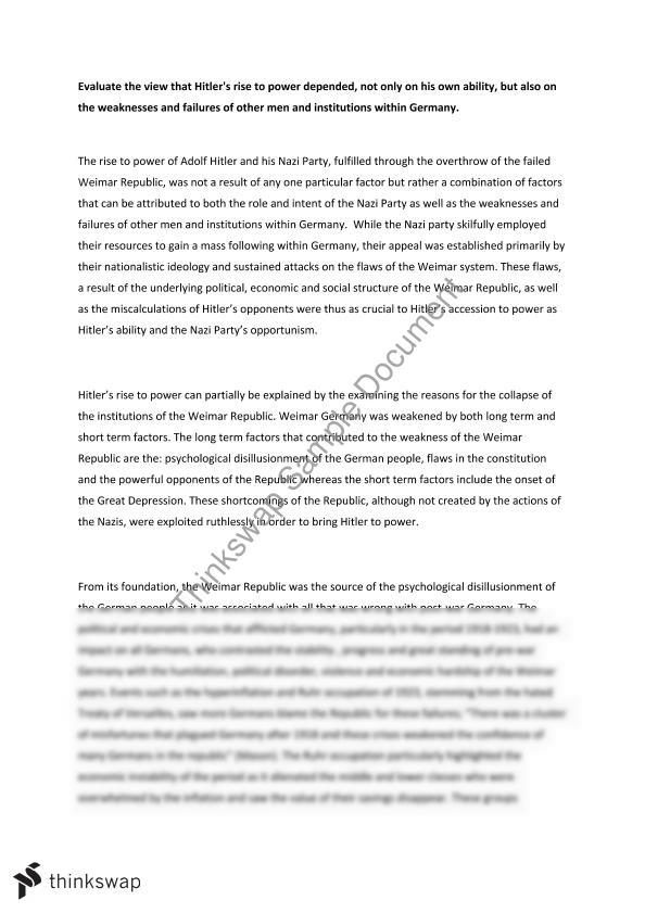 adolf hitler paper essay example Suggested essay topics and project ideas for adolf hitler part of a detailed lesson plan by bookragscom.