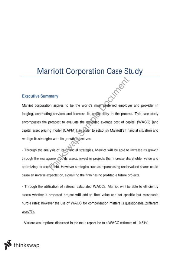 marriot case essay Brief case summary: reservation manager in a downtown marriot hotel faced a dilemma in accepting a group travel or not, the case started when the hotel with capacity 1877 rooms had the reservation for 1839 rooms for one day, which meant availability for 38 rooms.