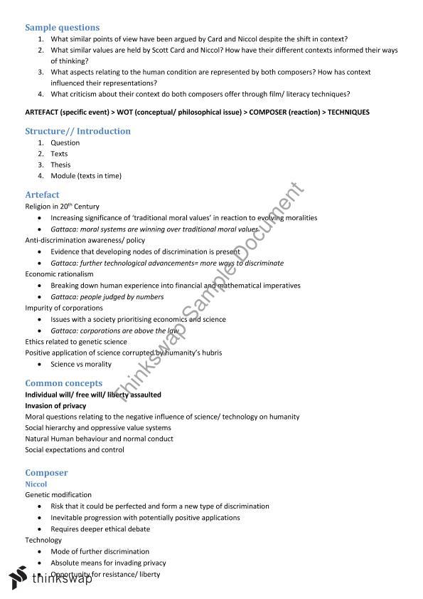 Gattaca Film Analysis | English (Advanced) - Year 11 HSC ...