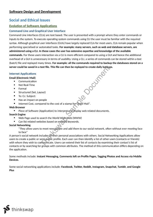 Complete Preliminary Software Design And Development Notes Year 11 Hsc Software Design And Development Thinkswap
