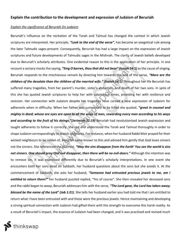 judaism explained essay Explain the extent of and reasons for family diversity in today's society 2014 words - 9 pages natasha helps sociology essay: explain the extent of and reasons for family diversity in today's society over the years society and family structure has changed in many different ways.