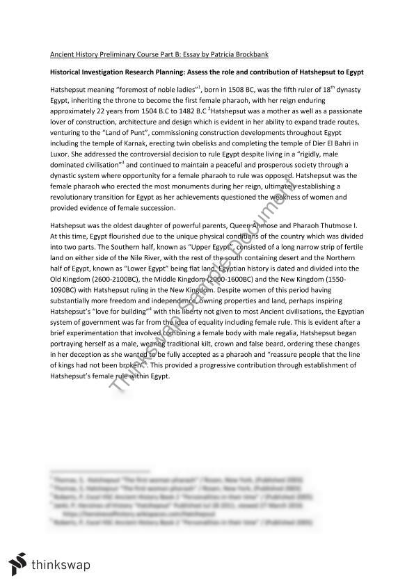 assignent essay on hatshepsut year hsc ancient history  assignent essay on hatshepsut