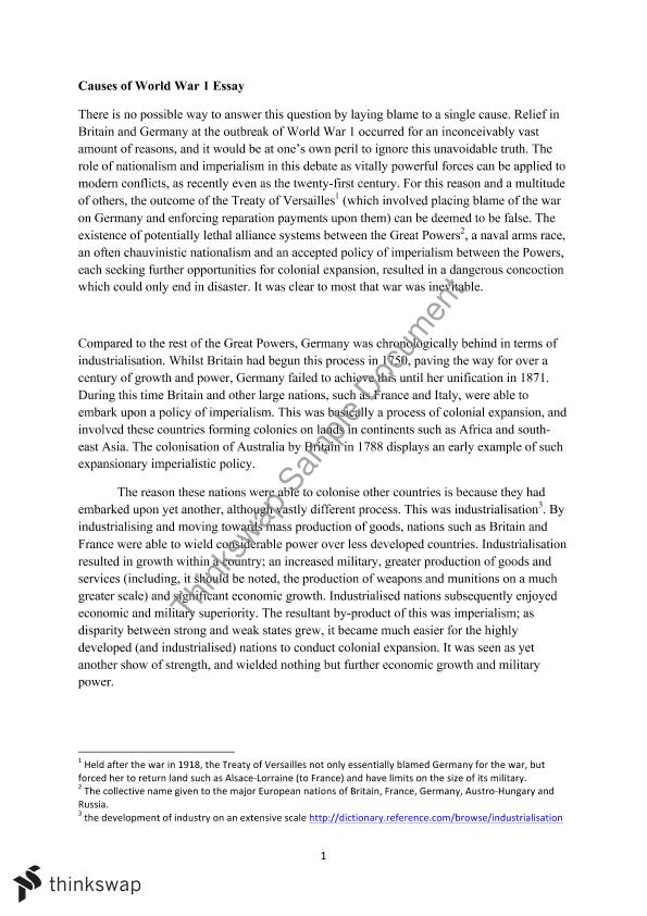 Science Fiction Essays Causes Of The First World War Causes Of Ww Essay What Is Thesis Statement In Essay also Research Essay Papers Causes Of Ww Essay Persuasive Essay Samples For High School