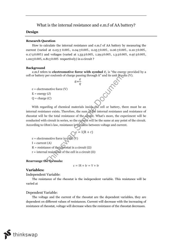 Lab Report: What is The Internal Resistance and E.M.F of an AA ...