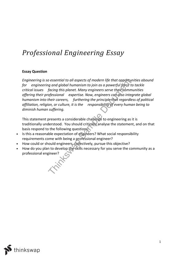 professional engineering essay engg professional  topics this document covers engineering