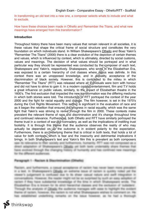Othello Comparative Essay  Advanced English  Year  Hsc  English  Othello Comparative Essay  Advanced English