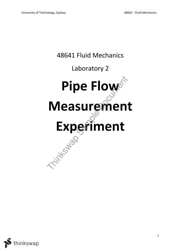Pipe Flow Measurement Experiment