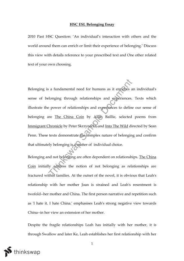 esl essay on belonging china coin