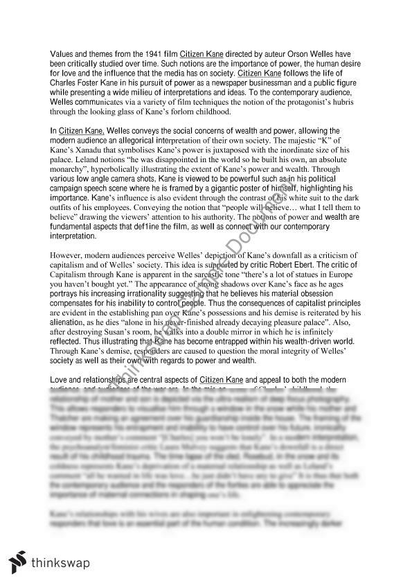 citizen kane essay year hsc english advanced thinkswap citizen kane essay