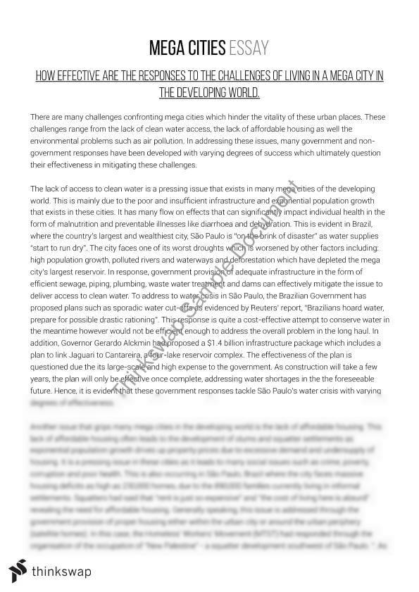 High School Entrance Essays Geography Hsc  Mega Cities Essay Sample Of English Essay also Essay On High School Dropouts Geography Hsc  Mega Cities Essay  Year  Hsc  Geography  Thinkswap Business Management Essay Topics