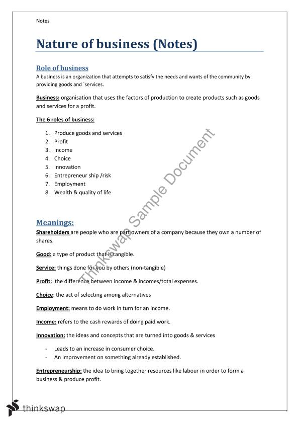 Business Studies Notes Pdf