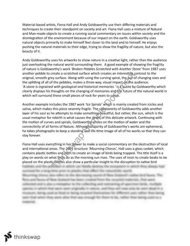 fional hall and andy goldsworthy essay year hsc visual arts fional hall and andy goldsworthy essay