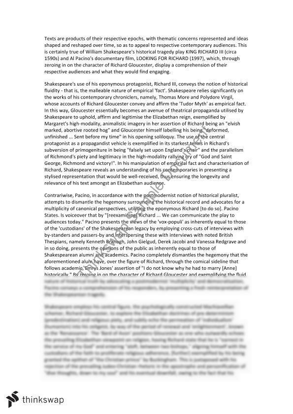 richard iii looking for richard essay Similar documents to module a looking for richard essay it explores the relations of both richard iii and looking for richard and also the themes within it.