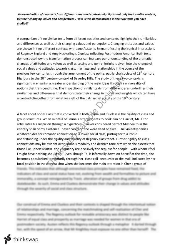 emma clueless essay example Comparative study of text and context – emma and clueless comparing the two contexts in terms of these themes is displayed from the essay excerpts below.