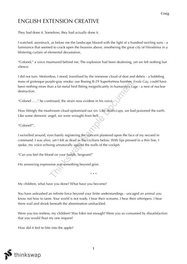 after the bomb essay eng ext 1 Question 3 elective 1: after the bomb written paper question 3 - 2010 hsc  write an essay exploring the statement: 'significant texts in any period arise from .