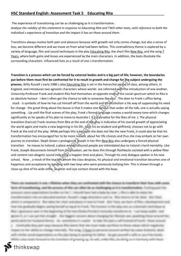 educating rita essay questions