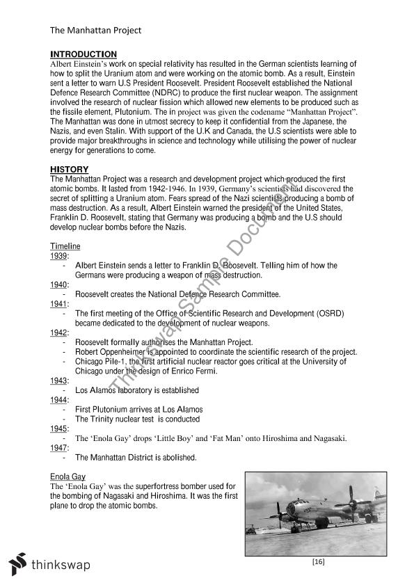 The manhattan project essay