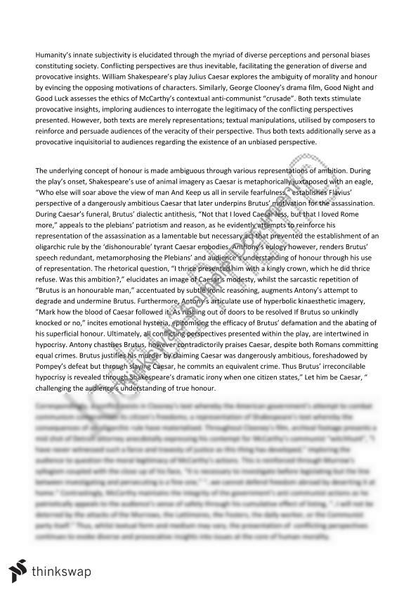 conflicting perspective essays for julius caesar On julius caesar and related texts conflictingperspectives  each of the principals offers a conflicting perspective.