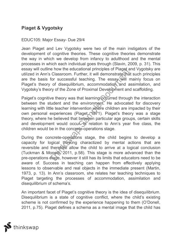 Piaget Essay  Describe And Evaluate Piagets Theory Of Cognitive  Piaget Essay