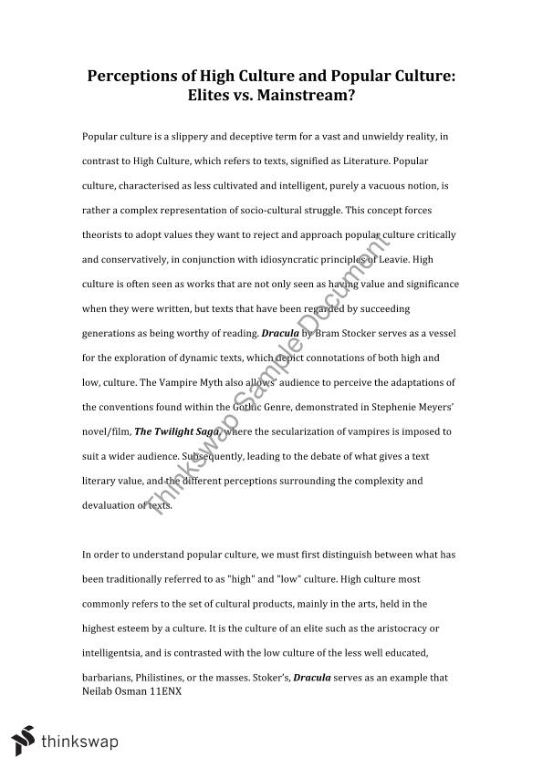 Essay on popular culture