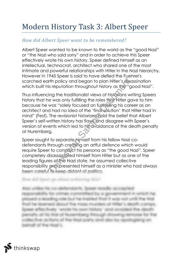 the life of albert speer essay Albert speer is one of the most controversial figures in history his complex  personality resulting from a traumatic childhood, combined with a.