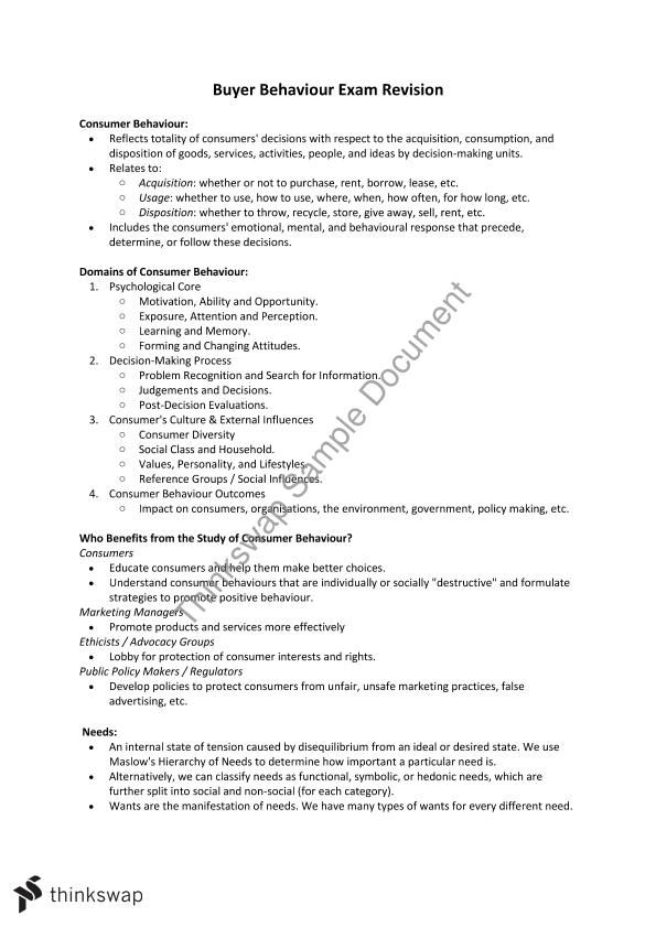 Buyer Behaviour - Complete Set of Semester Notes for Exam