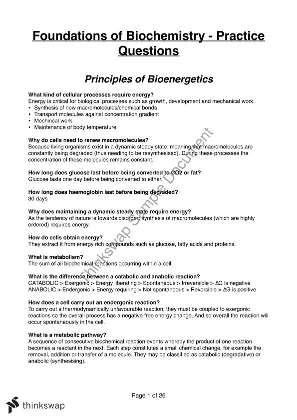 Biochemistry Practice Questions Bcm210 Foundations And