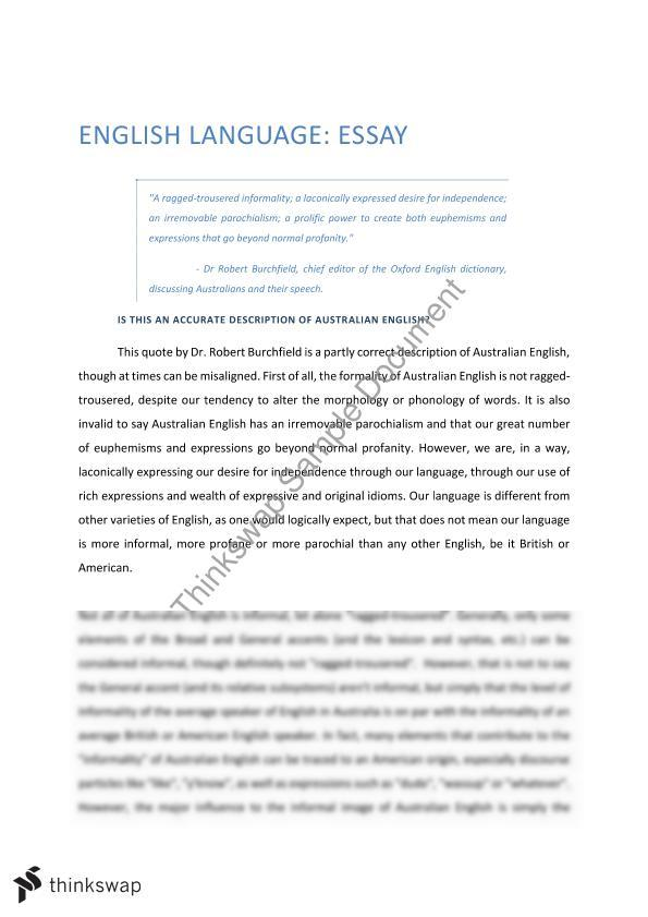 english language essay  year  vce  english language  thinkswap english language essay