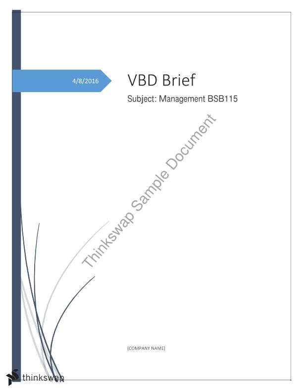 BSB 115-Management Brief-Covers the state of volunteering in Australia