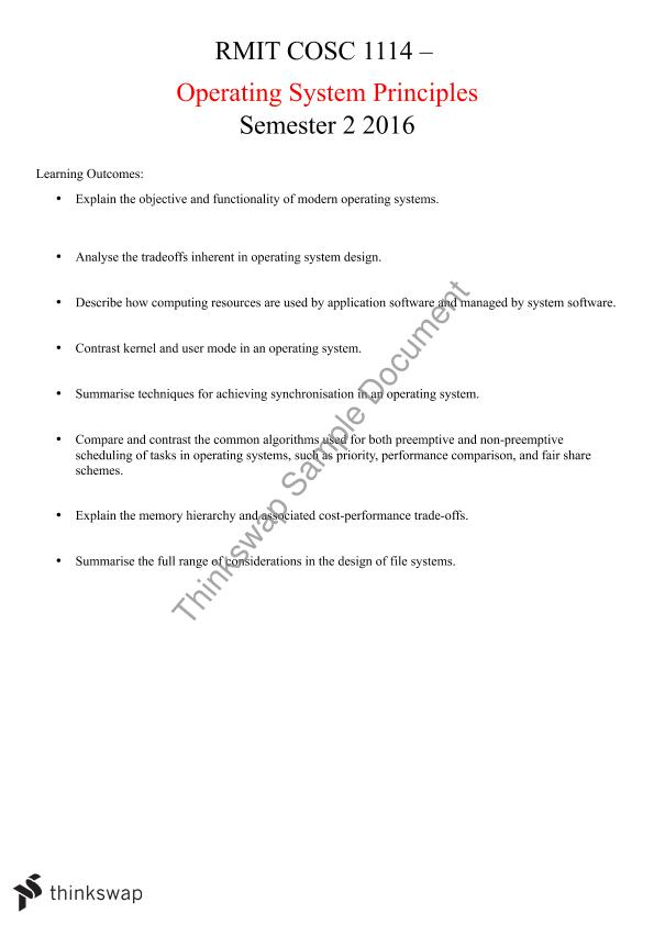 COSC1114 - Operating System Principles: Complete Study Notes with Examples.