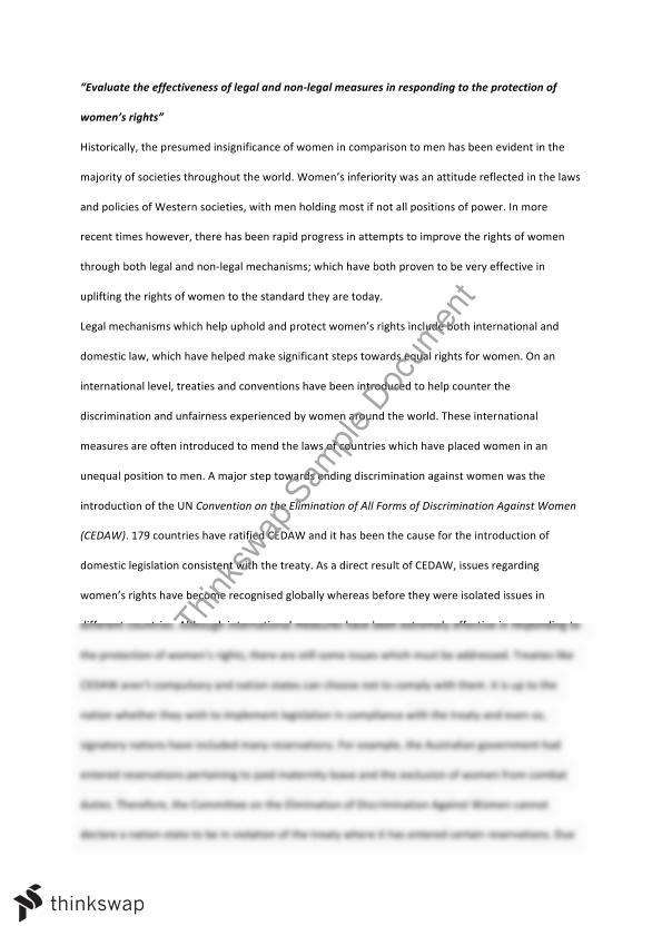 Legal Studies essay on the topic of