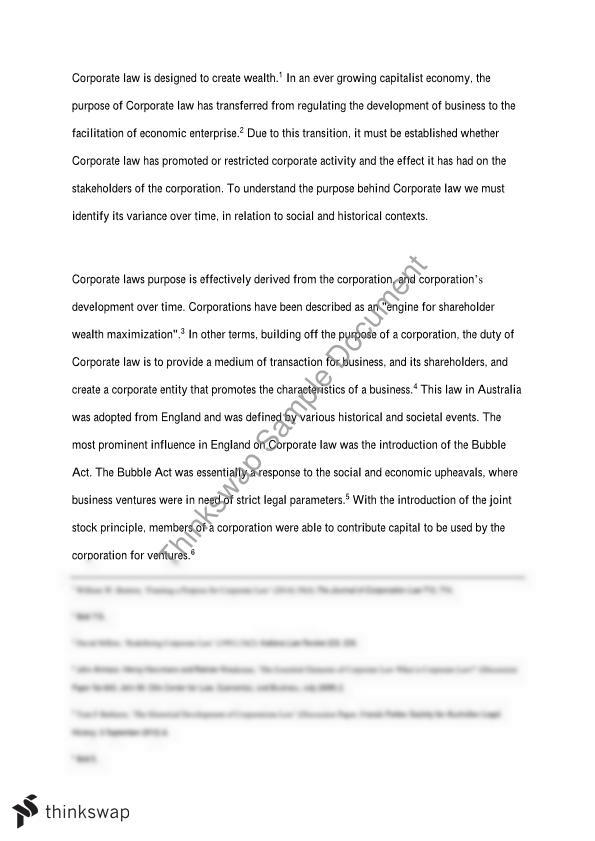 Business Organisation Essay On The Purpose Of Corporate Law  Business Organisation Essay On The Purpose Of Corporate Law