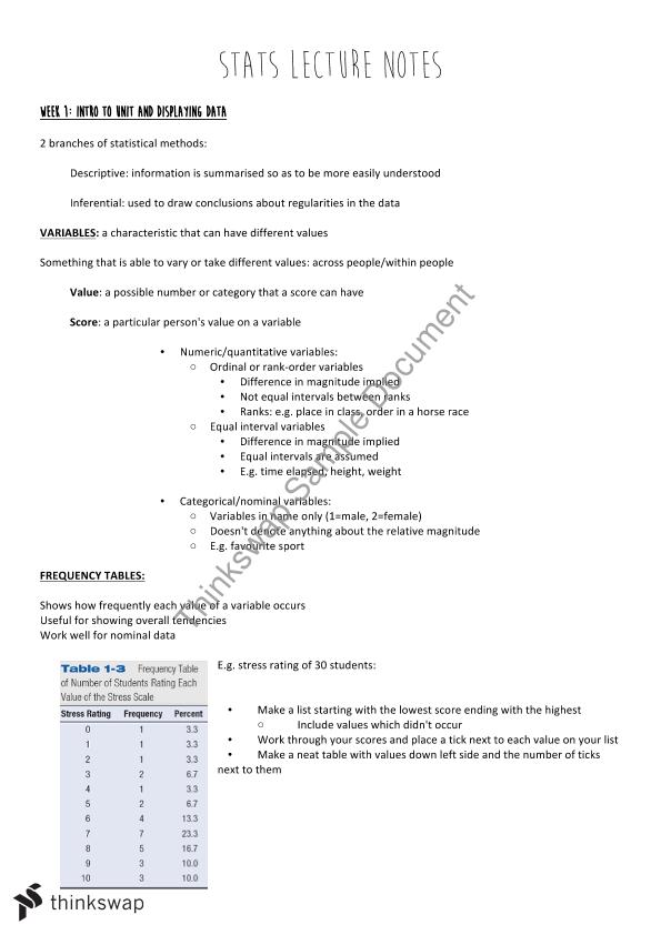 Statistics and Data Analysis Notes