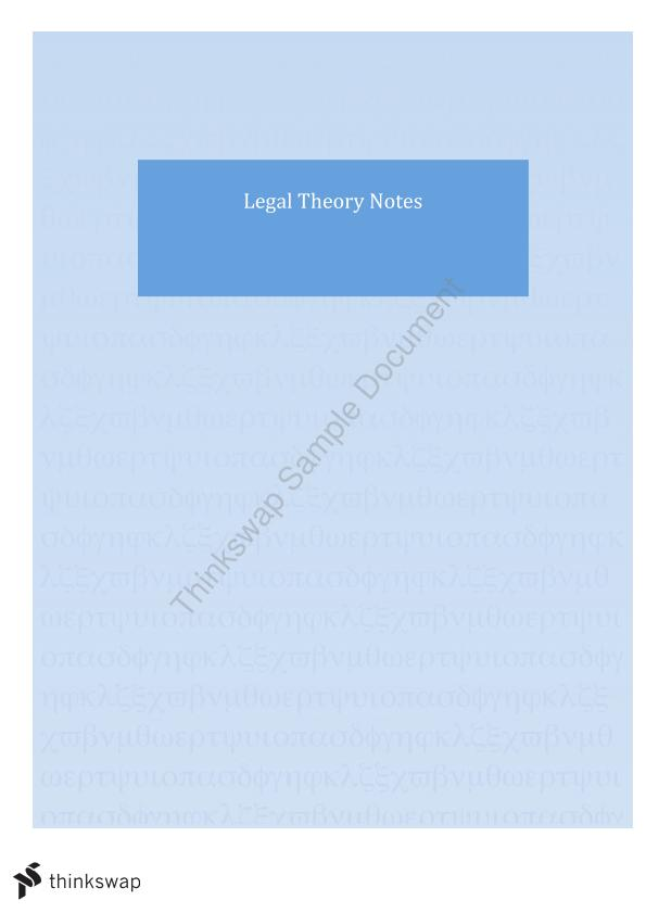LLB 290 - Legal Theory Exam Notes