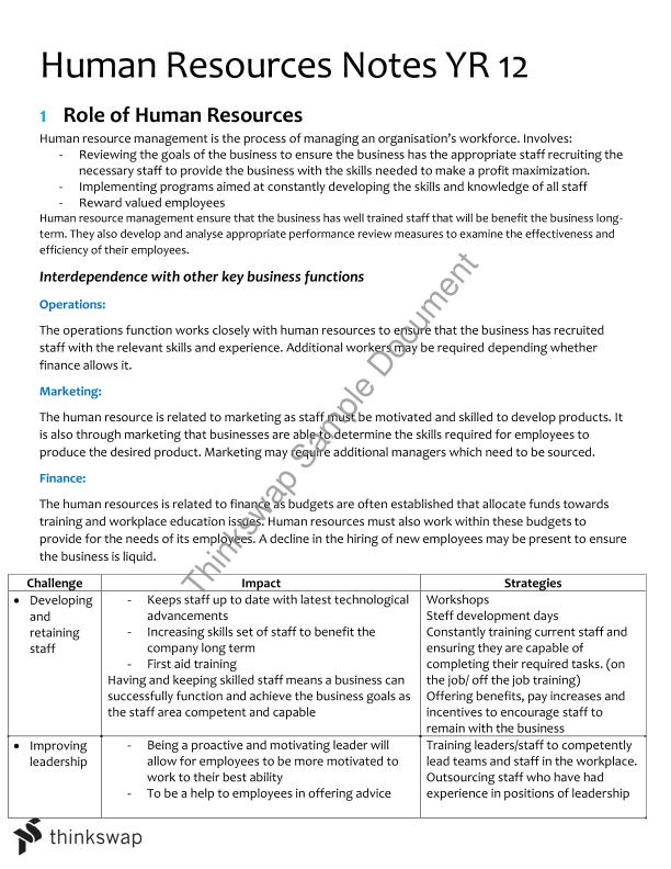 Summary: HRM Notes based off Syllabus