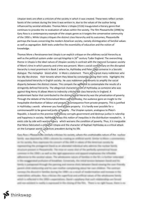 utopia vs pleasantville essay year hsc english extension  utopia vs pleasantville essay