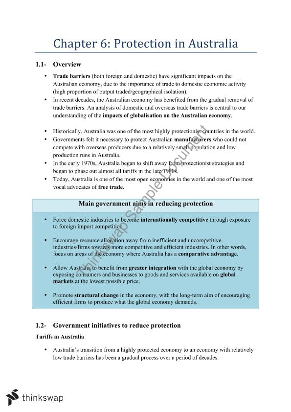 HSC Economics - Protection Notes