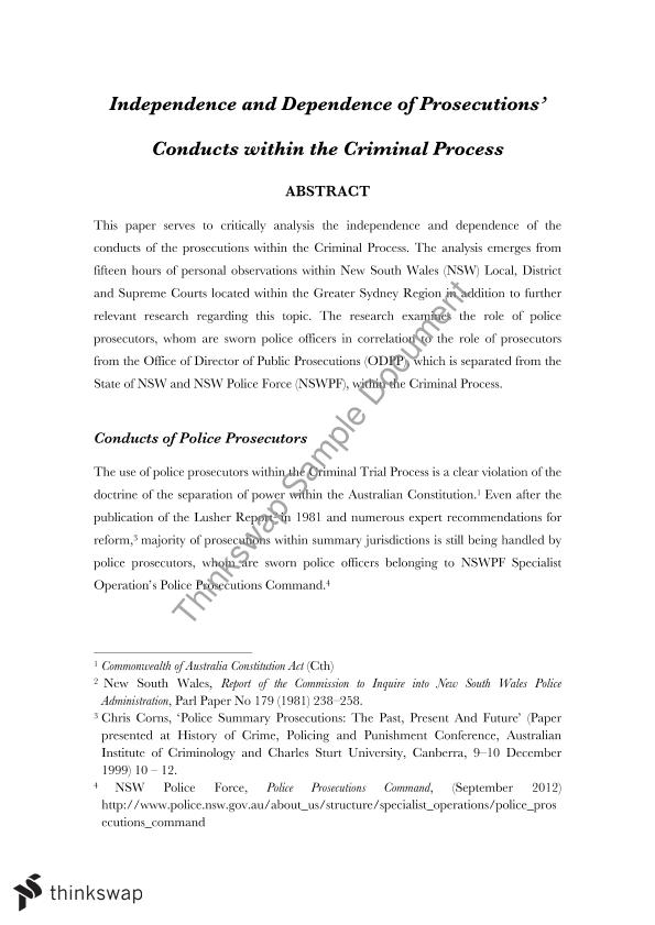 Criminal Court Research Paper: Independence and Dependence of Prosecutions' Conducts within the Criminal Process