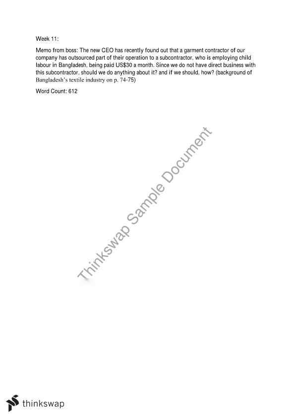 MGMT1101 Global Business Environment Memo